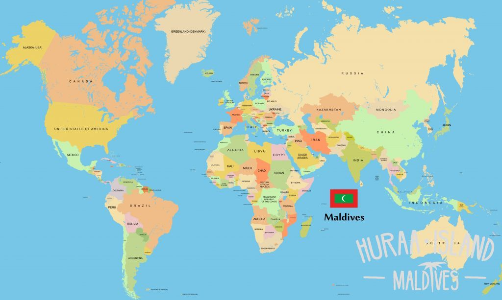 Maldives map  Huraa Island Maldives